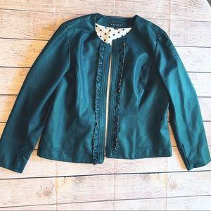 Baccini Ruffle Faux Leather Bomber Jacket